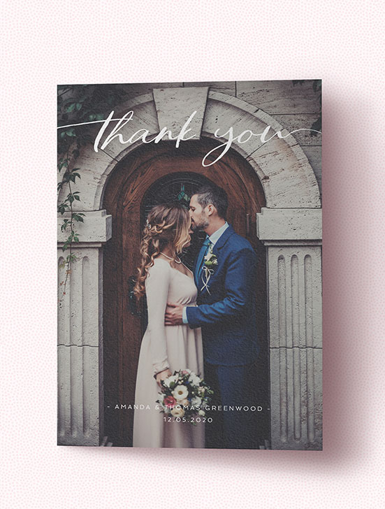 Classic wedding thank you card with large photo