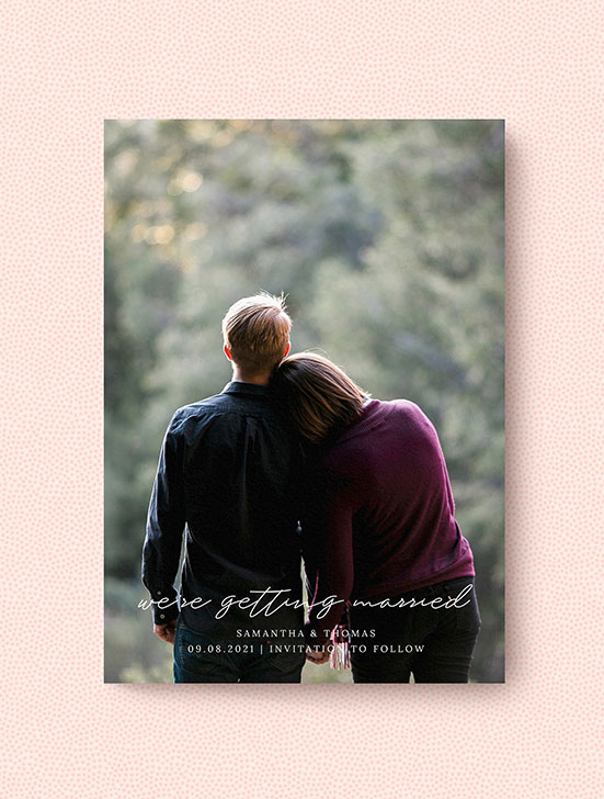 A simple wedding save the date design with photo