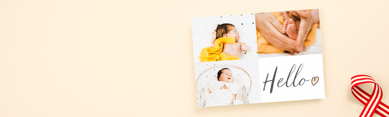"A baby announcement card design with photos. The birth announcement has 3 landscape photos printed on it with a simple ""Hello""."