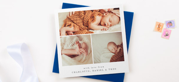 A square, printed christening thank you card. It has 3 baby photos and a printed message from the mother, father and baby.