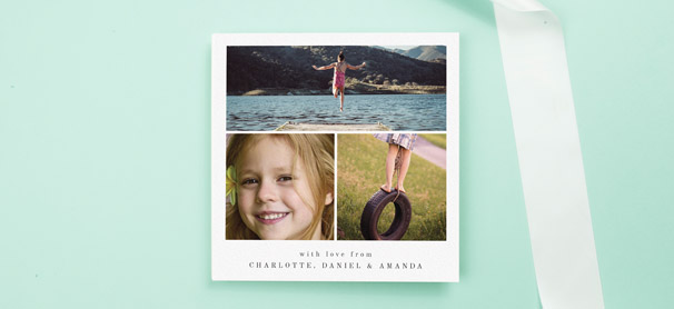 A modern communion thank you card design, printed with three photos of a young girl.