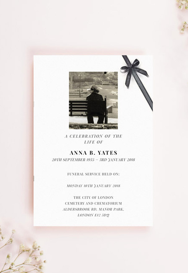 A funeral order of service booklet design. It has a photo, simple fonts with funeral service details, and a black bow in the top right corner.
