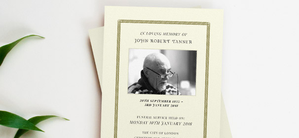A funeral order of service booklet with a gold border and simple photo layout. It is printed on cream card and stapled down the spine.