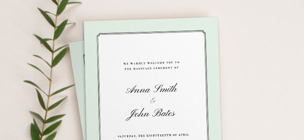 2 printed, traditional wedding order of service booklets. They have an Art Deco, mint green border, surrounding a classic cursive typeface.