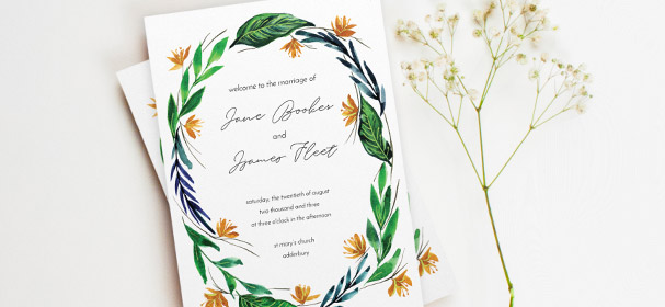 A multi-paged order of service booklet for a wedding. This order of service has a modern, floral design printed on the front cover.