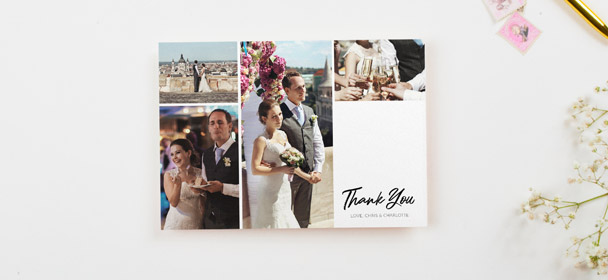 A multi-photo wedding thank you card design. The thank you card is printed with 4 photos on a premium white card stock.