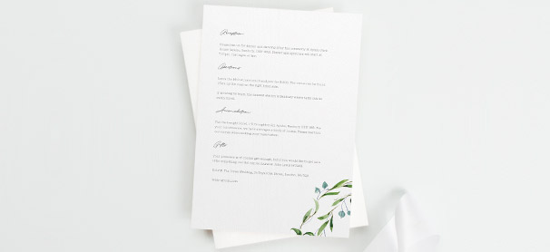 A matching wedding information insert sheet. The info card design has wedding details printed on it and a floral design printed in the corner.
