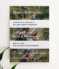 A personalised wedding invitation design with photos. This wedding invite has 3 photos, with personalised invitation wording in between.