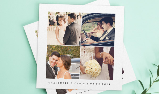 A beautiful wedding thank you card design with photos of the married couple. The thank you card has 4 printed photos and a personalised message.