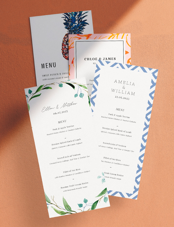 """A tall and thin wedding menu card design. The menu has the word """"love"""" printed at the top, above the details of a wedding feast."""