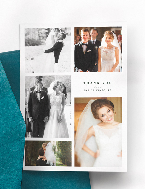 A wedding thank you card with a full photo of the bride and groom. It is printed with a personal message.