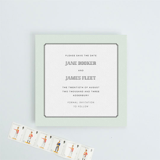 A mint green wedding save the date card. It is a simple save the date with an art deco feel.