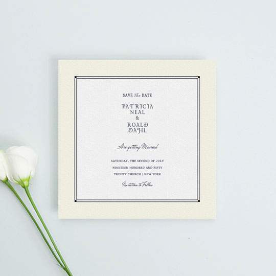 A vintage wedding save the date card with an art deco cream and black border. It has a range of fonts in the centre of card which give details of an upcoming wedding.