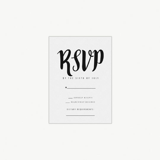 "A simple, portrait wedding response card. It has a handwritten effect ""RSVP"" at the top in black. Underneath it has section where wedding guest can fill in information about their attendance and dietary requirements."