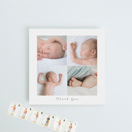 "A square, christening thank you card with 4 photos of a baby on it. The background I white with a script font reading ""Thank You"" underneath the baby photos."