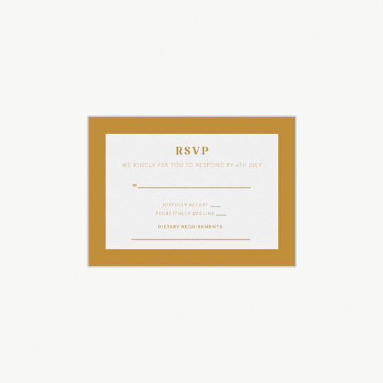 A simple RSVP card for a wedding. It has RSVP printed at the top in orange. The response card has a strong orange border and section print in the middle for wedding guest to fill out and return.