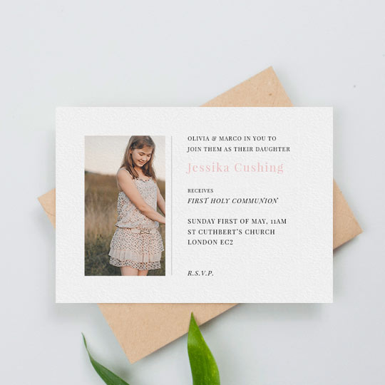 A simple, white communion invitation design. It has a picture of a girl with text to the right. The text has details about a first holy communion service.