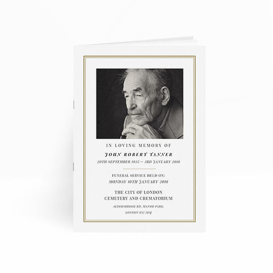 A classic and simple order of service for a funeral. It is a multi-paged order of service booklet with a white front cover, gold border and black and white photo.