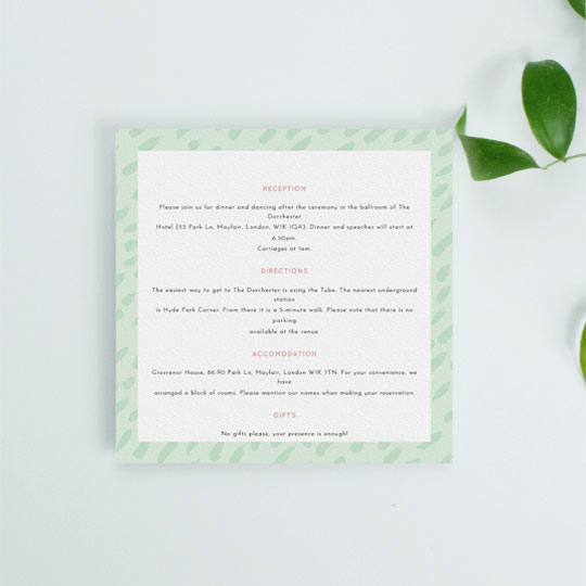 A square wedding information insert sheet with a modern green border. The font is black with pink headers.