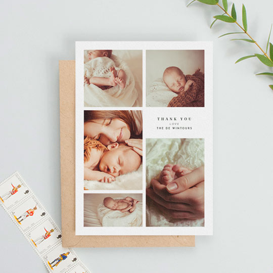 A formal, portrait christening thank you card. It has 5 photos of a newly-christened baby boy on it. It has a simple and small message of thank from a family.