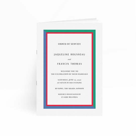 A modern but simple wedding order of service design. This wedding order of service has multiple pages and is stapled to form a booklet. The order of service border is blue, green and red and surrounds information about the wedding ceremony.