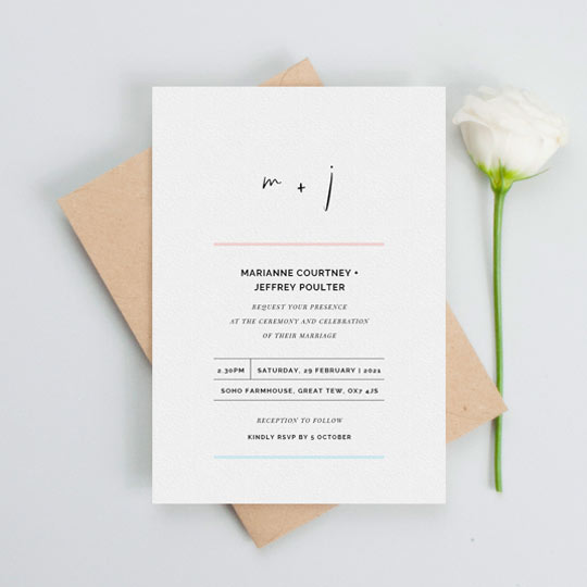 A simple and modern wedding invitation card design with minimalist design features. The top of the wedding invitation has a modern monogram using a quirky font. The rest of the wedding invitation is divided by simple blue and pink lines.