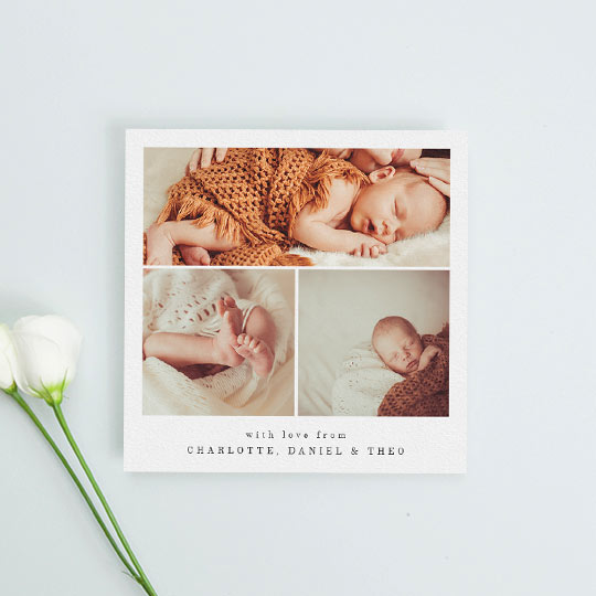 A classic christening thank you card with 3 baby photos on it. It has a white card background and black text showing a personalised message of thanks from a family.