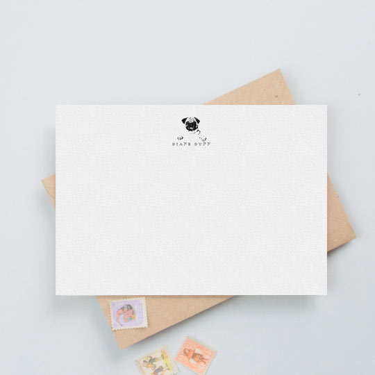 An unusual correspondence card design with a pug dog printed in black and white. The note card is personalised with a lady's name underneath the dog.
