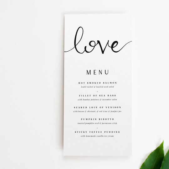 "A modern and simple wedding men design with the word ""Love"" written in calligraphy at the top. The menu is tall and thin, and sized roughly to Din Long (DL) size."