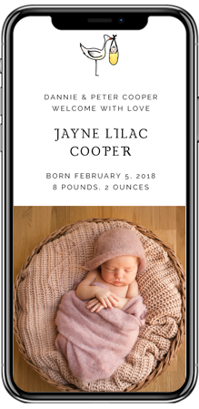 A photo birth announcement card on a smartphone screen. The top half has the birth details of a new-born baby. The bottom half has a colour photo.