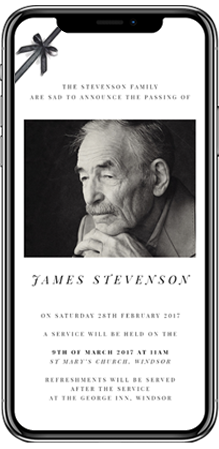 A black and white funeral announcement card on a smartphone screen. The funeral invitation has a photo of an elderly man and a black ribbon in the corner.