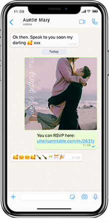 Mobile phone with WhatsApp open. An electronic wedding save the date card is being sent to a family member. A wedding RSVP link is included