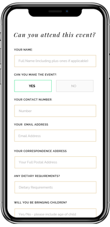 The online RSVP service for a guest replying to a WhatsApp birth announcement card.
