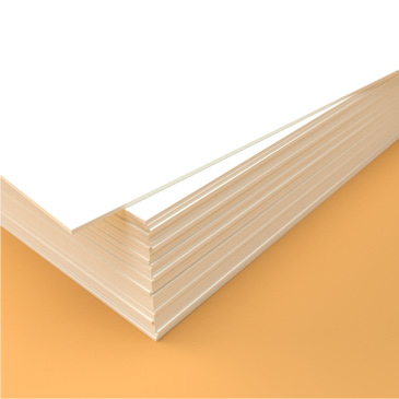 A stack of 324gsm card used for stationery printing