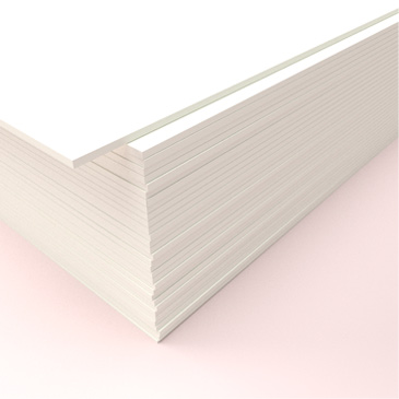 A stack of 650gsm, super-thick card used for stationery printing