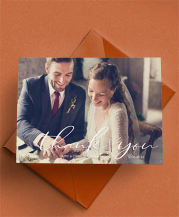 An affordable wedding thank you card named