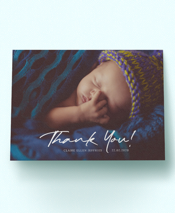 A beautiful baby thank you card named