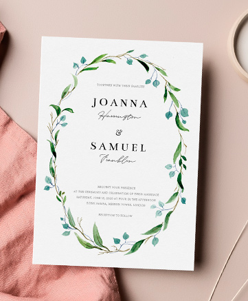 A beautiful wedding invitation named