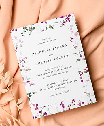 A classic wedding invitation named