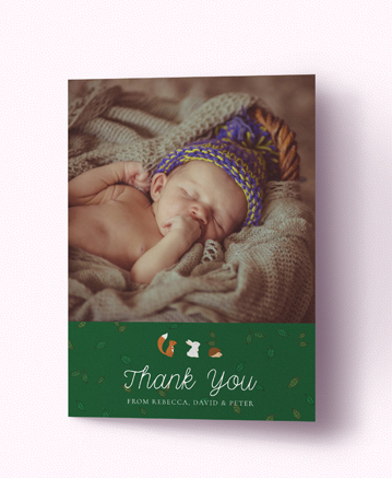 A cute baby thank you card named