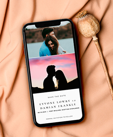 A digital wedding invitation for smartphones named