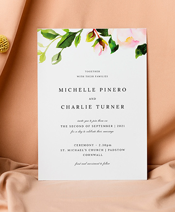 An elegant wedding invitation named