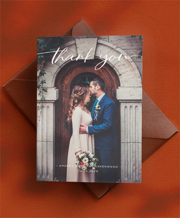 An elegant wedding thank you card named