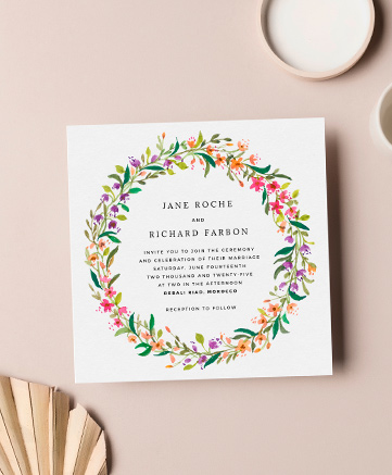 A floral wedding invitation named
