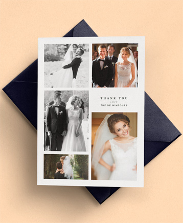 A multi-photo wedding thank you card named