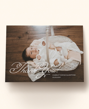 A photo baby thank you card named