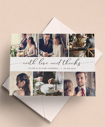 A photo wedding thank you card named