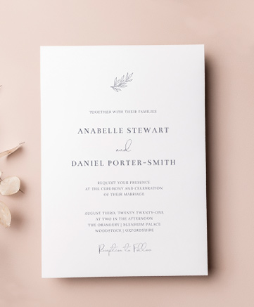 A simple wedding invitation named