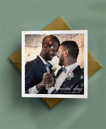 A traditional wedding thank you card named