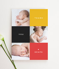 A portrait baby thank you card with 3 photos of a new-born baby. The card message reads 'thank you heaps' on yellow, red and black squares.
